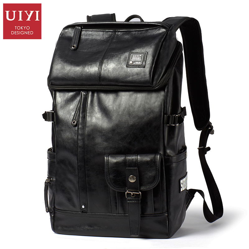 UIYI New PU Leather Men Backpack Patchwork High capacity Travel Backpacks Men School Bag Fashion Mochilas14
