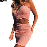 JYSS Estate nuovo aderente senza spalline donne imposta tubo tops gonne rosa bianco giallo spiaggia elastico in vita girly sexy abiti 9757 #