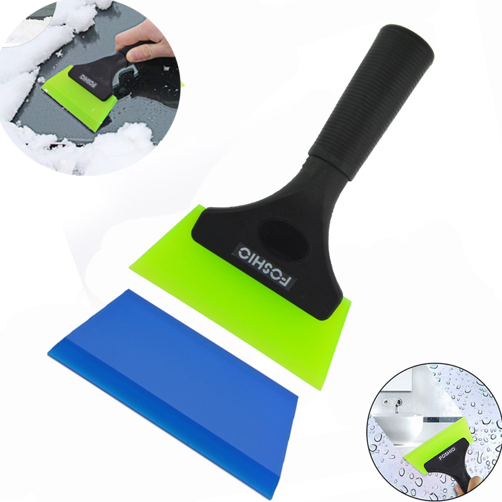 FOSHIO Handle Silicone Glass Water Wiper Squeegee With Extra Blade Ice Scraper Window Car Cleaning Tool Auto Tinting Tools Kit