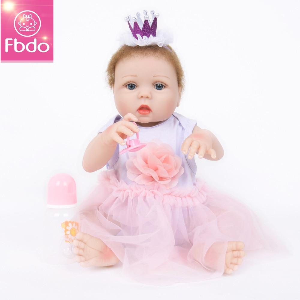 Fbdo Doll 22inch 57cm Reborn Baby Dolls full Silicone Reborn Bebe Doll Vinyl Toys gifts cute plamates For Girls and boys pink