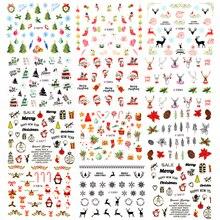 11 листов 3D Санта/Клаус/Лось/Снеговик Дизайн ногтей клей наклейки Рождество год наклейки для ногтей Обертывания Маникюр украшения инструменты