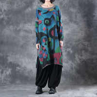 Autumn Winter Cotton Knit Pullovers Women Vintage Long Printed Cashmere Sweater Women Loose Knitted Casual Blue Female Jumper