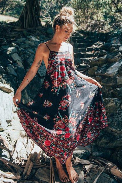 Black & Floral Boho Maxi Dress