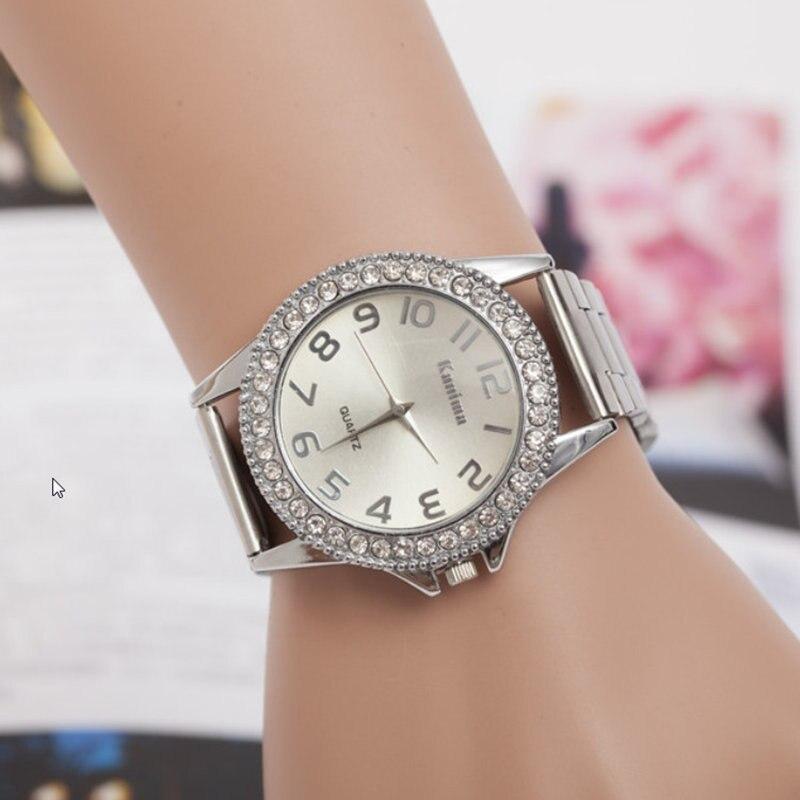 Yeni Moda Klasik İzle Kadınlar Lüks Kristal Paslanmaz Çelik - Kadın Saatler - Fotoğraf 2