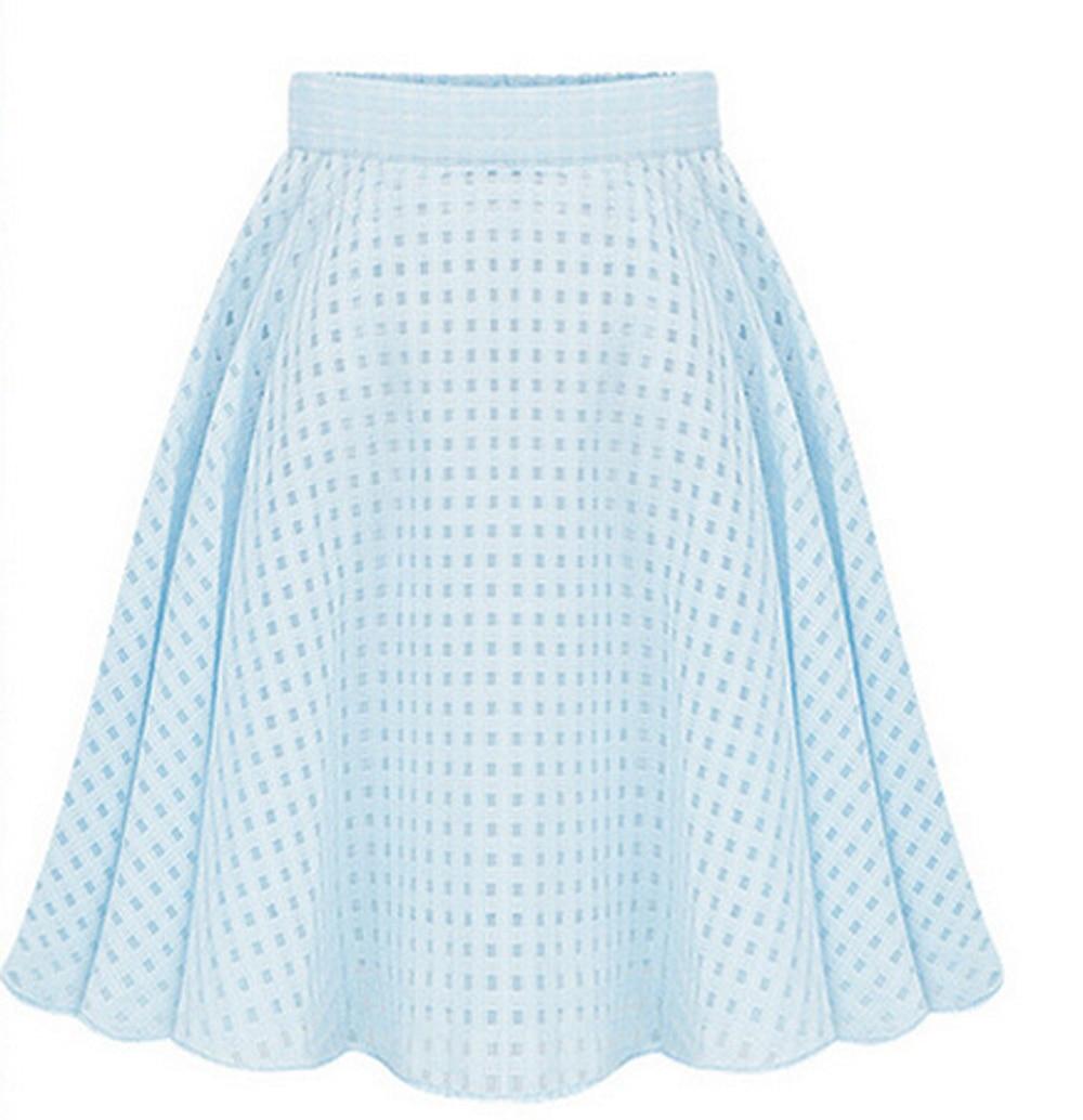 summer casual skirt high waist pleated plaid