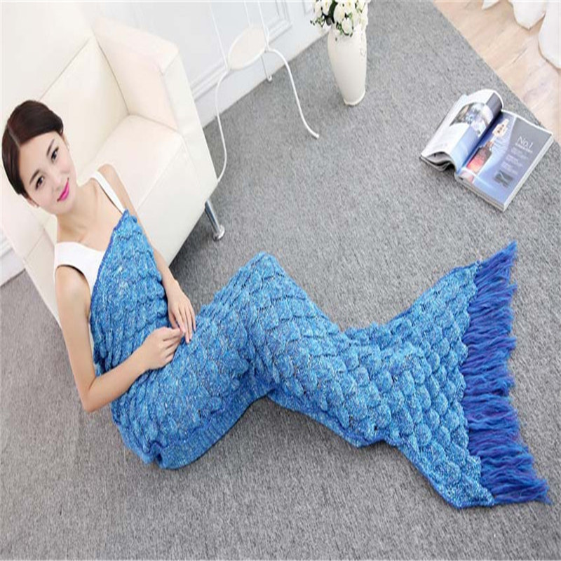 Tassel Mermaid Tail Blanket Thicken Knitted Blanket 70*190cm Throw Bed Wrap Cocoon Costume Kids Adults Sleeping Bag Good Gift thicken stripe sleeping bag wrap mermaid blanket for kids