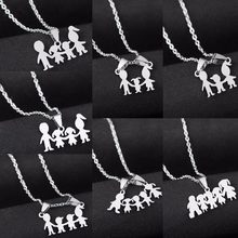 Family Love Mom Dad Son Daughter Necklaces Gifts Stainless Steel Pendants Boys Girls Mothers Fathers Necklace For Children Kids(China)
