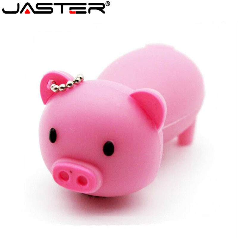 JASTER Lovely Mini Pig USB Flash Drive Cute Animal Pen Drive Gift Cartoon Pendrives 4GB/8G/16GB/32GB/64GB Memory Stick Wholesale