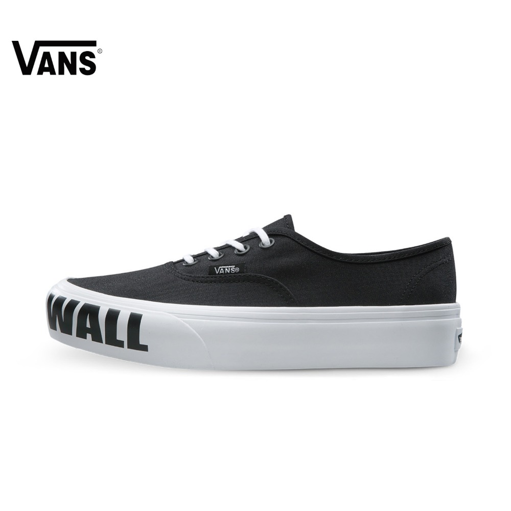 Original Vans New Arrival Letter Low-Top Women's Skateboarding Shoes Sport Shoes Canvas Shoes Sneakers letter print knot front top