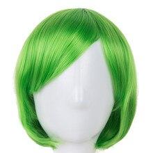 Косплей парик Fei-Show синтетические термостойкие короткие волнистые наклонные челки зеленые волосы костюм Хэллоуин карнавал Женщины парики
