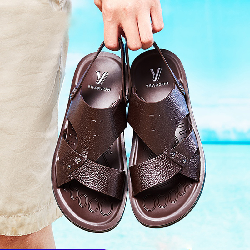 YEARCON Men's Sandals Summer High Quality Brand Causal Shoes Beach Genuine Leather Fashion Outdoor Waterproof 9342ZS97409W