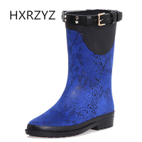 Fashion Fashion Python Print Suede Fabric Slip Resistant Water Shoes Female Knee High Rainboots Adult Shoes