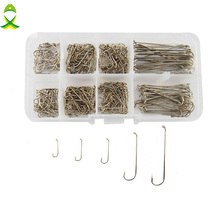 JSM 350pcs 79580 High Carbon Steel Fishing Hooks Silver Long Shank Dry Fly Tying Fishing Hook For Jig Set With Box