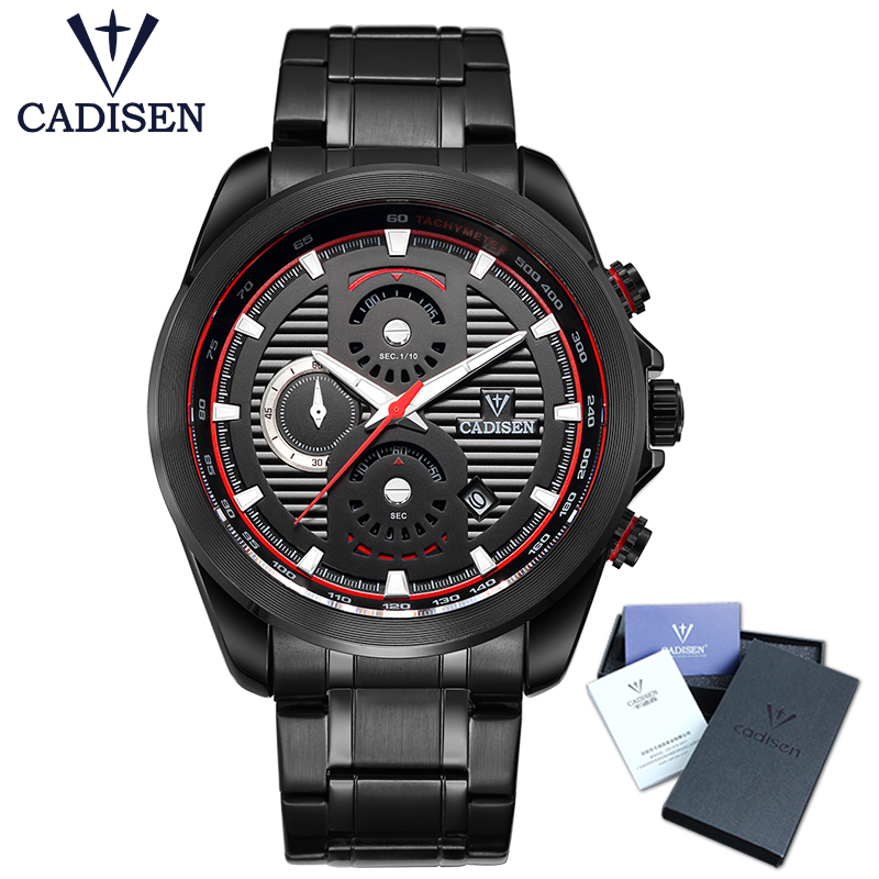 Man Watch 2017 CADISEN New Fashion Sport Military Army Top Brand Luxury Men Quartz Watches Stainless Steel Waterproof Wristwatch automatic waterproof quartz sport wristwatch fashion colorful silicone army military watch top quality man clock diving watch