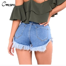 CWLSP Cotton Jeans Hot Shorts 2018 Womens Summer Denim Vintage Sexy Slim Tassel For Femme With Pocket QZ2800