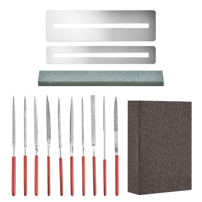 14Pcs Diamond Files Kit Guitar Nut Saddle Groove Polishing Tool Grinding Stone Sponge Frets Musical Instrument Diy Set