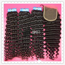 1 Piece Lace Top Closure with 3Pcs Hair Bundle,4pcs/lot,Brazilian Virgin Hair Extension,deep curly 12″-28″ Free shipping by DHL