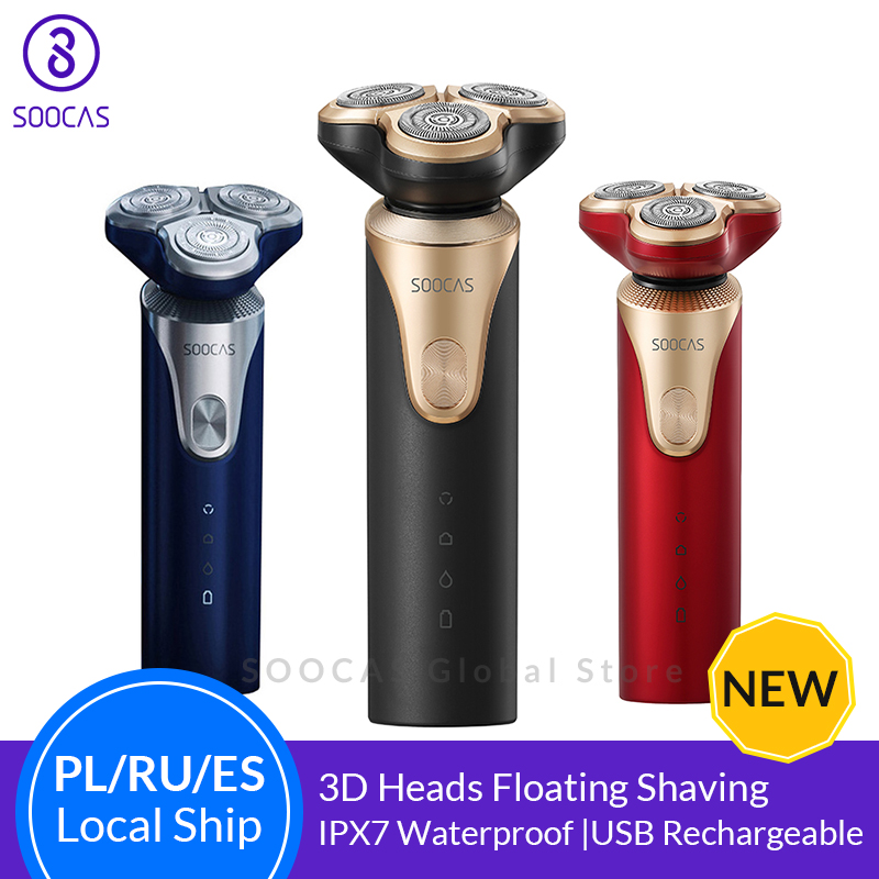 SOOCAS S3 Electric Shaver For Men 3 Cutter Head Dry Wet Shaving Wireless USB Rechargeable Waterproof