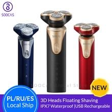 SOOCAS S3 rasoir électrique pour hommes 3 tête de coupe sec humide rasage sans fil USB Rechargeable étanche rasoir pour Xiaomi Mijia