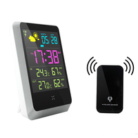 EAAGD Wireless Digital Alarm Clock LCD Screen Weather Station Table Clock Indoor Outdoor With Temperature Humidity