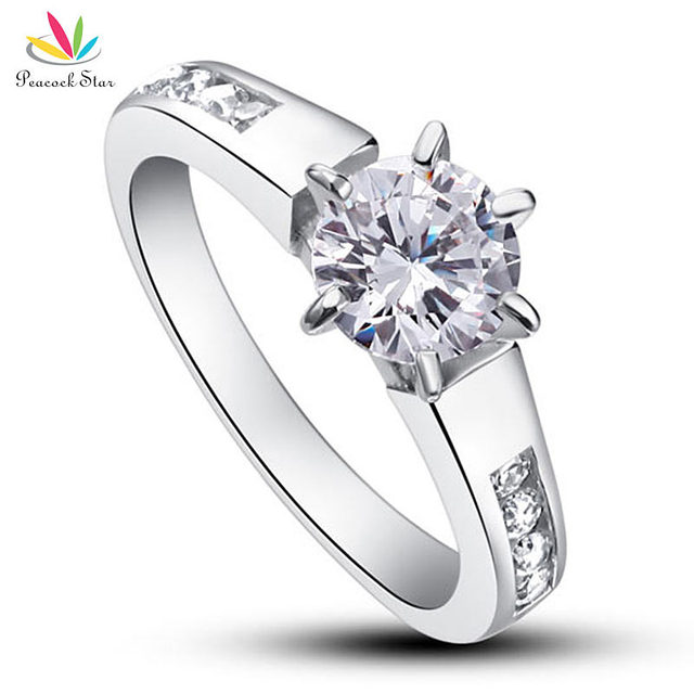 Peacock Star 1.25 Carat Round Cut Simulated Diamond Solid 925 Sterling Silver Wedding Engagement Ring Jewelry CFR8013