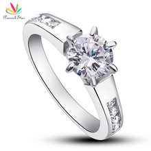 Pavo real Estrella de 1.25 Quilates Corte Redondo Diamante Simulado Esterlina del Sólido 925 de Plata Anillo de Compromiso de Boda Joyería CFR8013