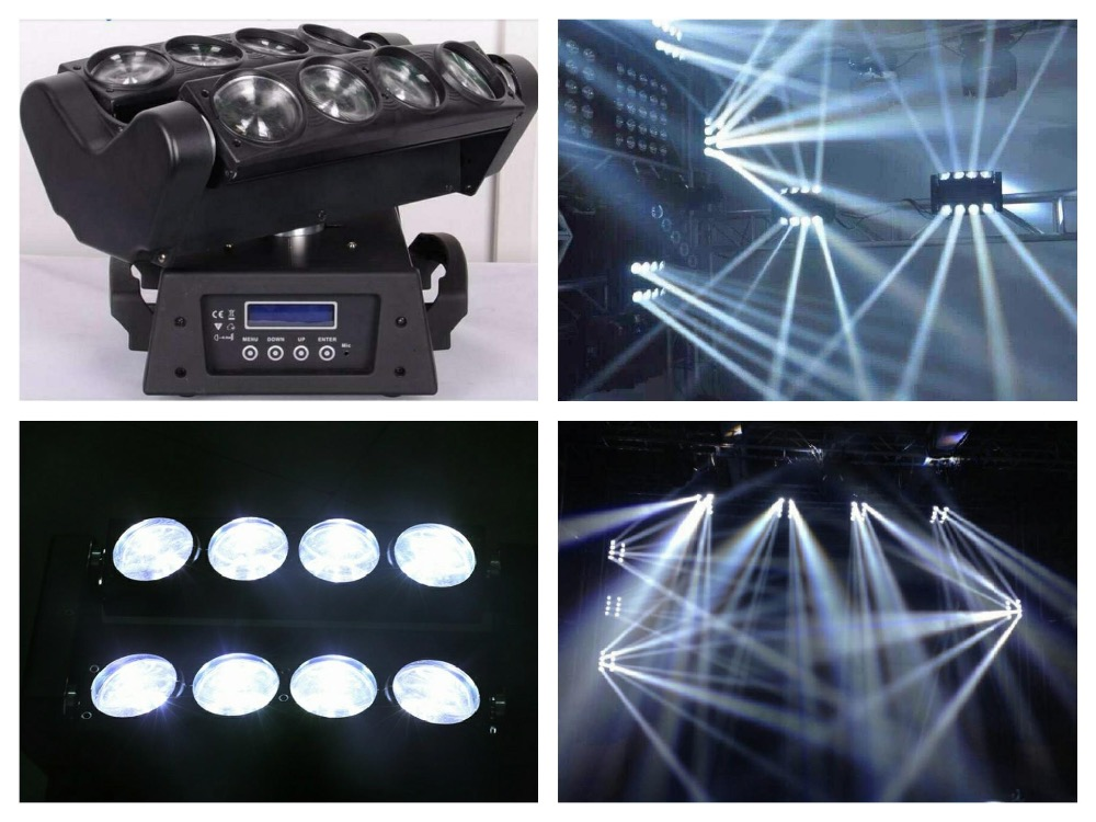 Moving Head beam LED Spider 8x10W White stage light sound dj disco club night party wedding Lighting 9 moving head laser spider light green color 50mw 9 triangle spider moving head light laser dj light disco club event
