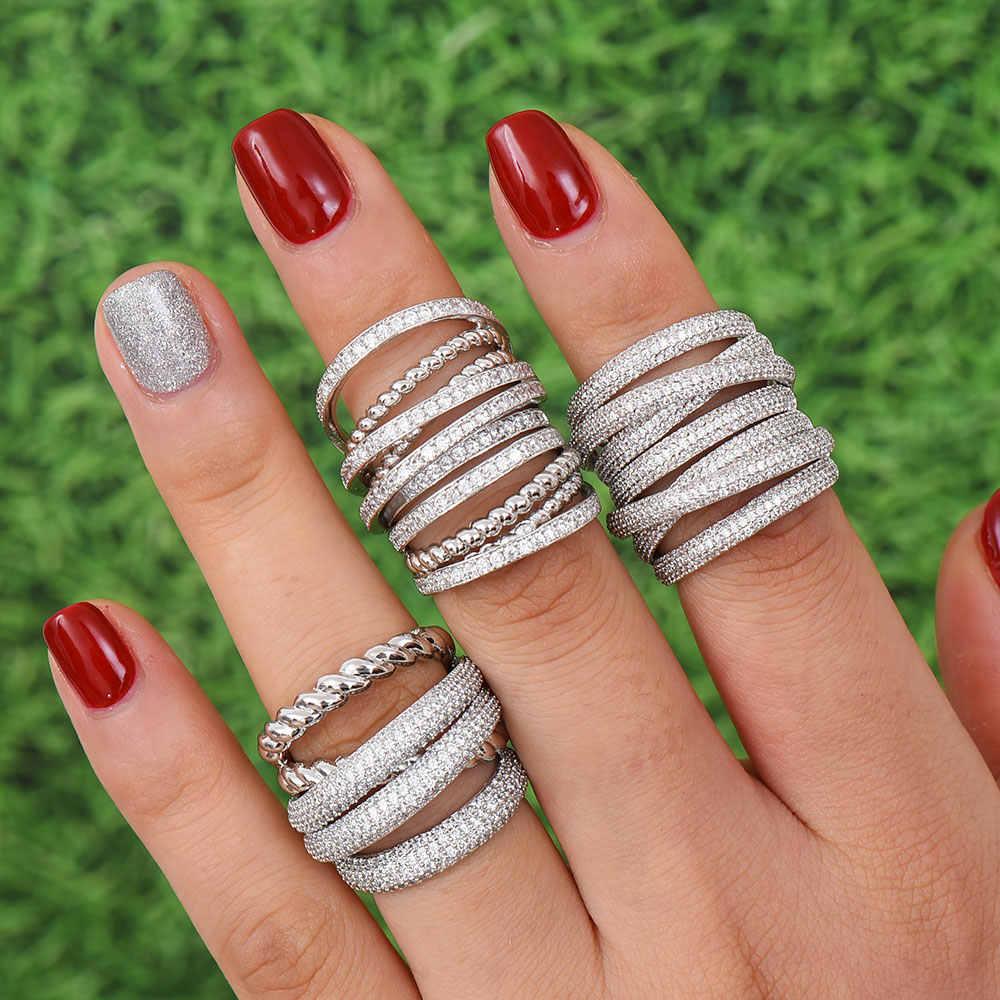 GODKI Monaco Design Luxury Statement แหวนสำหรับผู้หญิงงานแต่งงาน Cubic Zircon หมั้นดูไบ Punk เจ้าสาวด้านบนแหวน