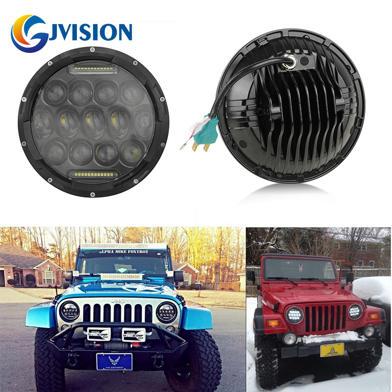 7'' Universal Round LED Headlight Bulb 7 INCH White Angel eye for Jeep Wrangler JK Hummer led headlamp with DRL H/L Beam windshield pillar mount grab handles for jeep wrangler jk and jku unlimited solid mount grab textured steel bar front fits jeep