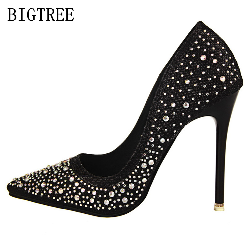 Bridal Shoes Women Pumps Rhinestone Bigtree shoes Wedding Shoes Designer Luxury Brand Ladies Red Extreme High Heels salto alto