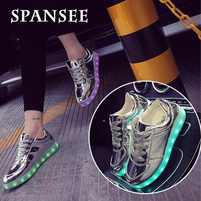 Size25-45 spansee cuero led shoes sneakers shoes con luz brillante led zapatillas luminoso zapatillas infantil cesta de femme