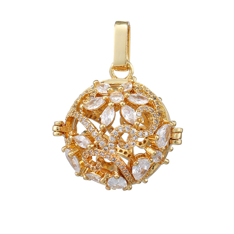 [Inlaid zircon and Color retention] The magic box openwork carving Mosaic zircon Sweater necklace Pendant Accessories