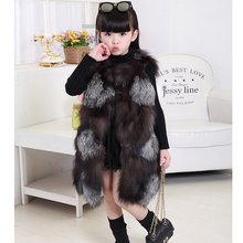 Fashion Children's Real Fox Fur Vest Baby Girls Autumn Winter Thick Warm Long Fox Fur Clothing Vest Kids Solid O-Neck Vests V#2