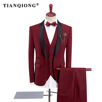 TIAN QIONG Mens Red Wedding Tuxedo Suits 3 Pieces with Pants 2018 New Design Black Shawl Lapel Slim Fit Purple Black Suit Men