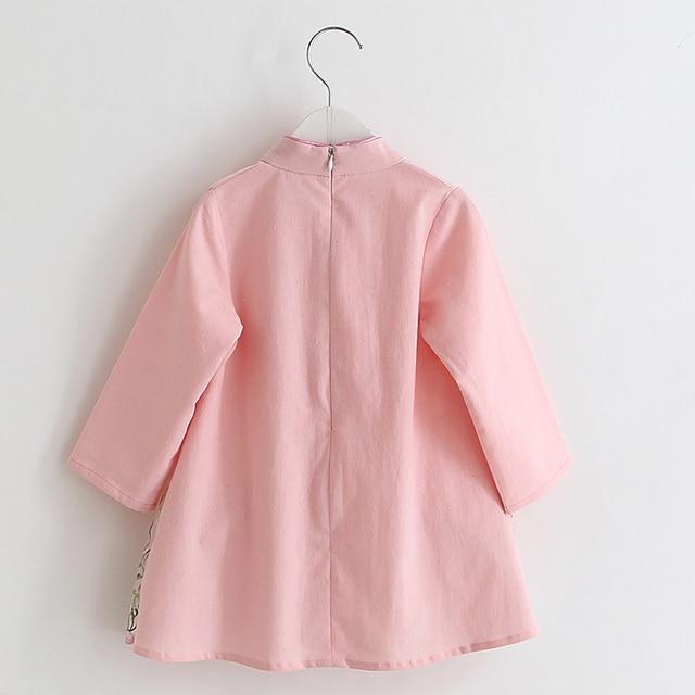 공주 소녀 자수 cheongsam qipao 중국 스타일 현대 cheongsam 레트로 빈티지 longsleeve 드레스 2018 아기 공주 옷