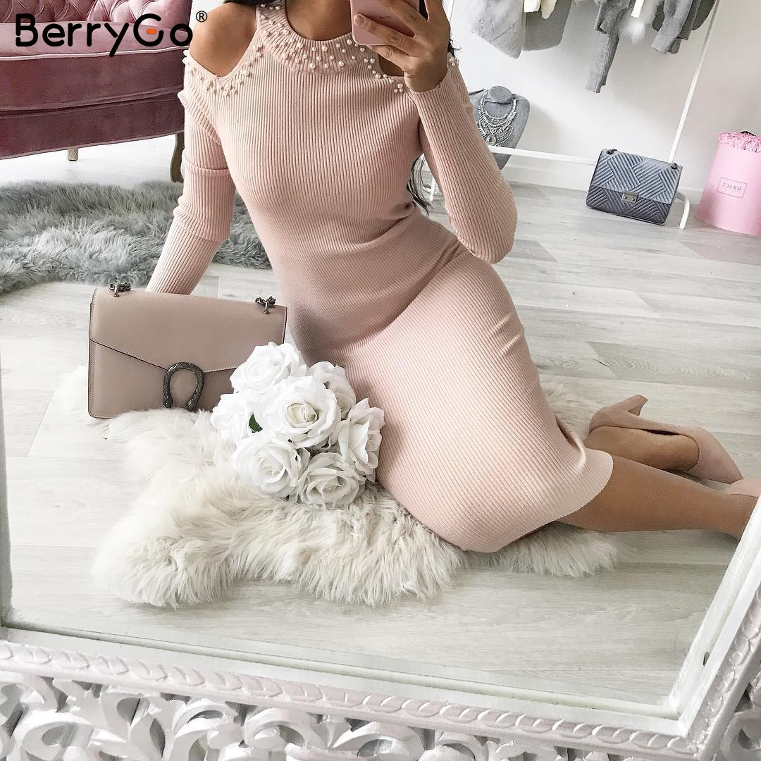 a3caaee2255ff BerryGo Sexy off shoulder bead bodycon winter dress Women knitted ...