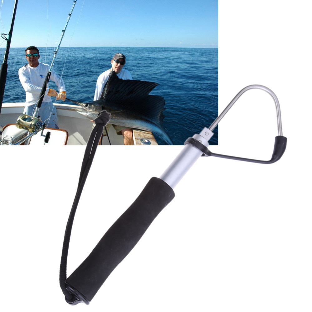 60cm Stainless Steel Sea Telescopic Fishing Gaff Retractable Aluminum Alloy Spear Hook Fish Tackle Outdoor Fishing Tool цена 2017