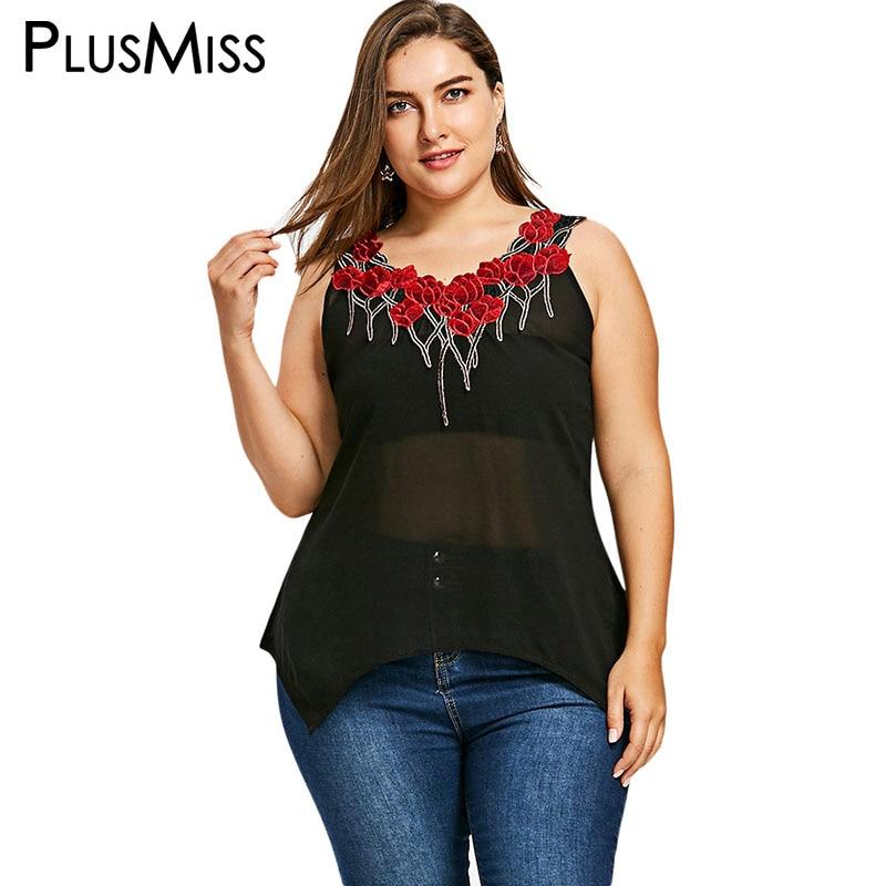 PlusMiss Plus Size Floral Appliques Sheer Mesh Tank Top Women Clothing Big Size Summer 2018 Sleeveless Sexy Black Vest Ladies