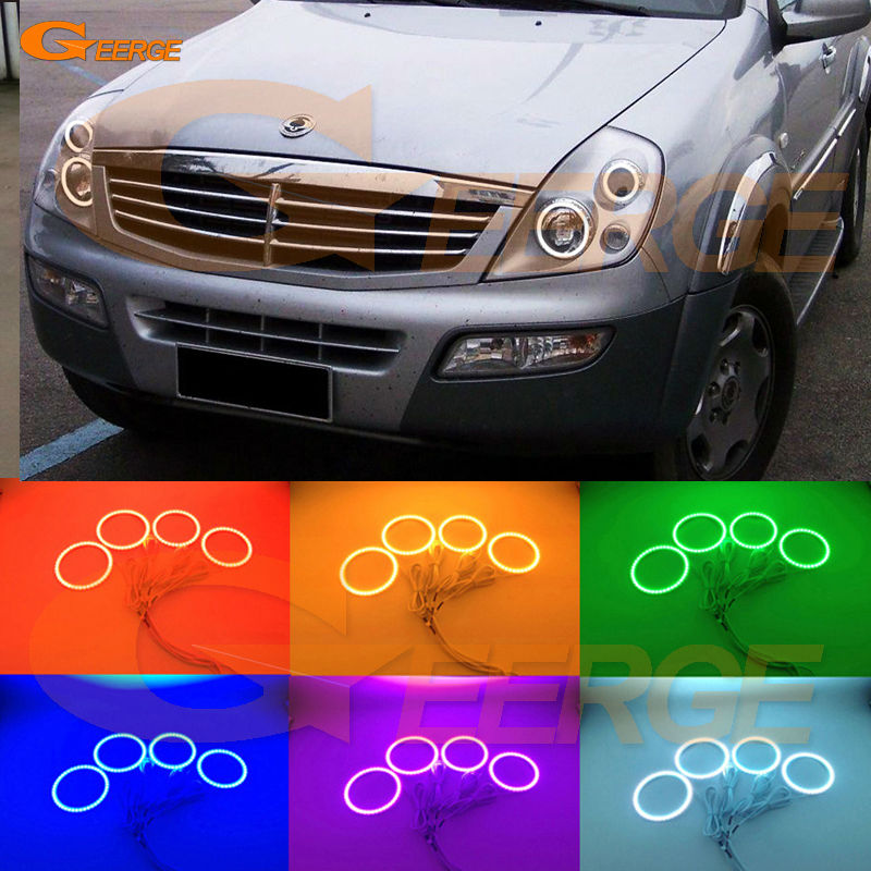 For Ssangyong Rexton 2003 2004 2005 Excellent Angel Eyes Multi-Color Ultra bright RGB LED Angel Eyes kit Halo Rings for lexus lx470 2003 2004 2005 2006 2007 excellent multi color ultra bright rgb led angel eyes kit halo rings