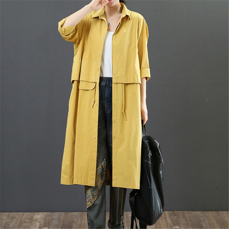 Coton Haute beige Longues Hjb116 Art Printemps Manches Coupe yellow De À Longue Veste Style Qualité Femmes Colour caramel En 2018 Mode Chemise vent Taille Nouveau Grande Mince Black HqxaBwWES