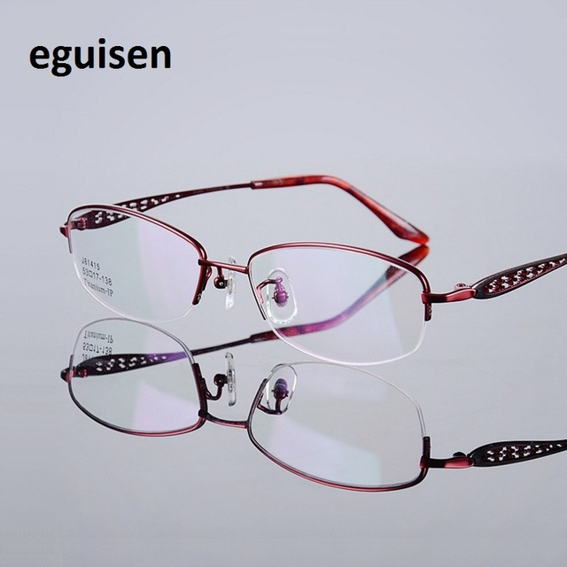 95730ec353 53-17-138 Fashion ultra light titanium myopia glasses frame J81415 half  frame glasses