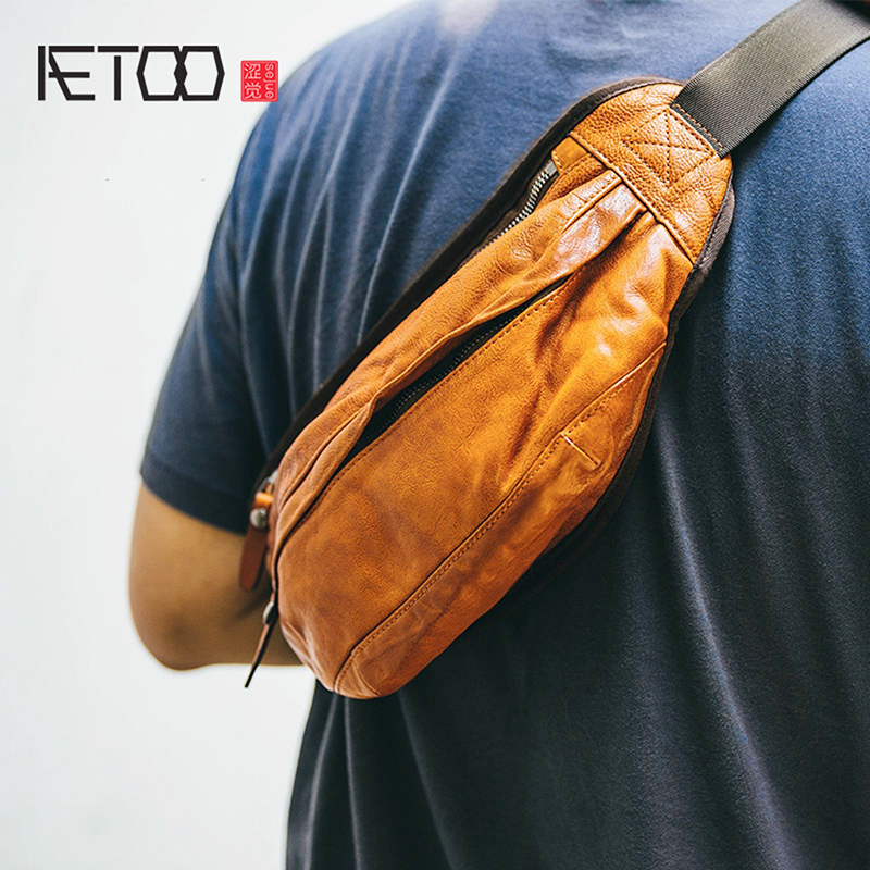 AETOO Male leather single shoulder bag crossbody bag retro trend male leather multifunctional practical large capacity