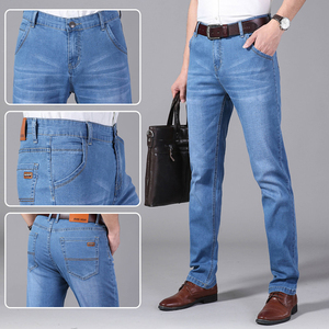 Image 4 - Brother Wang Men Jeans Business Casual Light Blue Elastic Force Fashion Denim Jeans Trousers Male Brand Pants