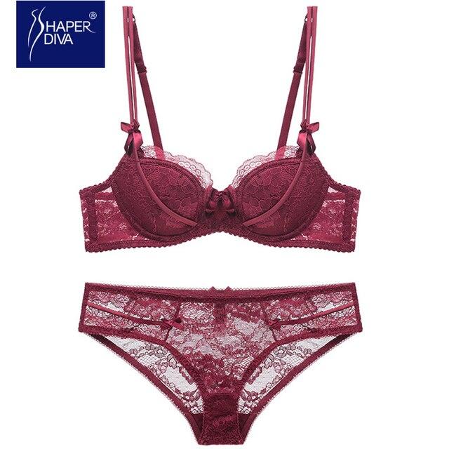 45ba31c62d Burvogue New Sexy Women Lace Lingerie Bra Set Push Up Bras And Underwear  Sets Plus size Adjustable Push Up Bra And Panty Set