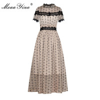 Moaa Yina Fashion Designer Runway dress Spring Summer Women Dress Short sleeve Lace Stripe Dresses