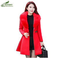 Winter Woolen Outerwear Female Mid Length New Fashion Slim Large Size Thickening Jacket Women Autumn High