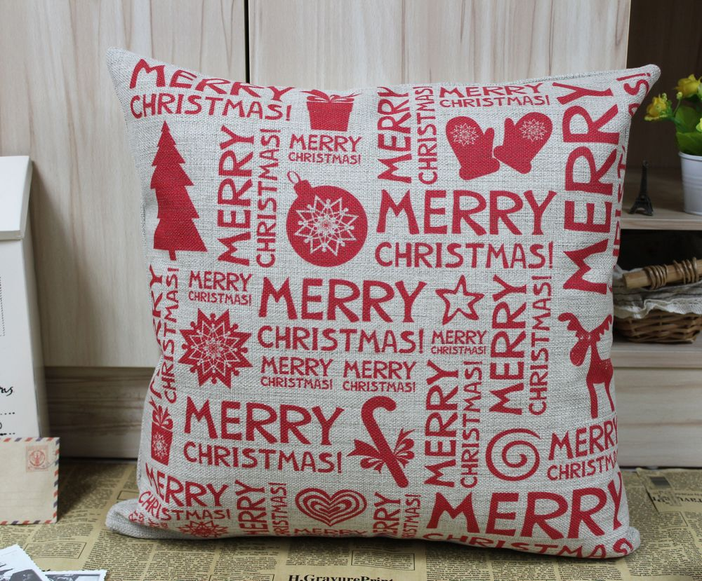LINKWELL Merry Christmas Burlap Cushion Cover 45cmx45cm Christmas Gift Present