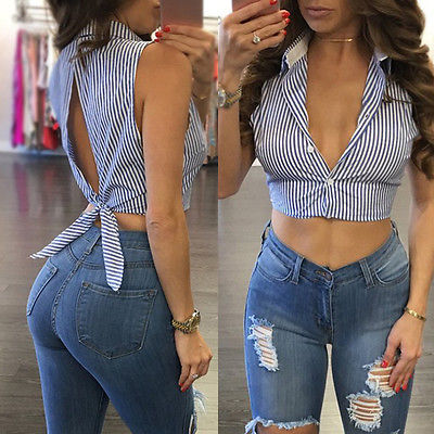 Sexy Womens Striped Sleeveless Blouse Vest Casual T Shirt Lady Top Shirt Blouse
