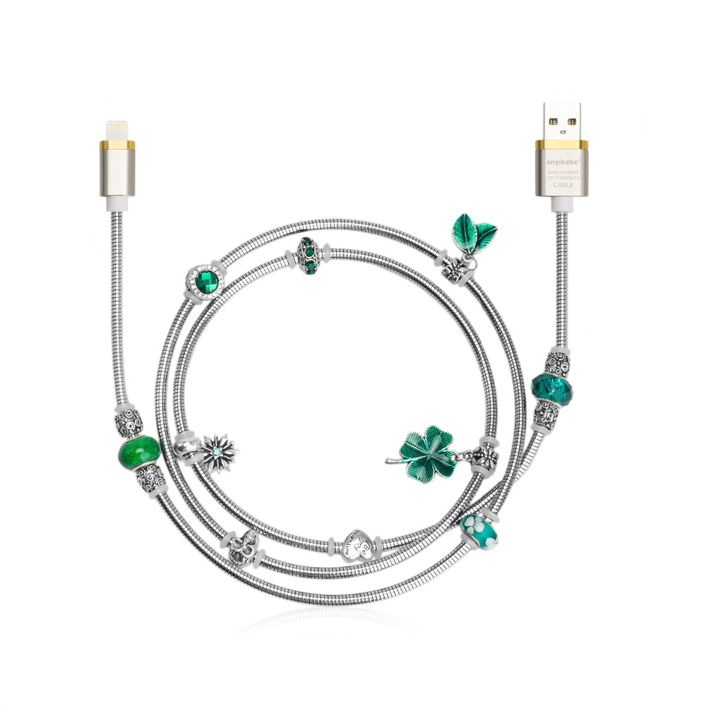 (Green) ANGIBABE wire spring USB Cable 2A 1M DIY inlay
