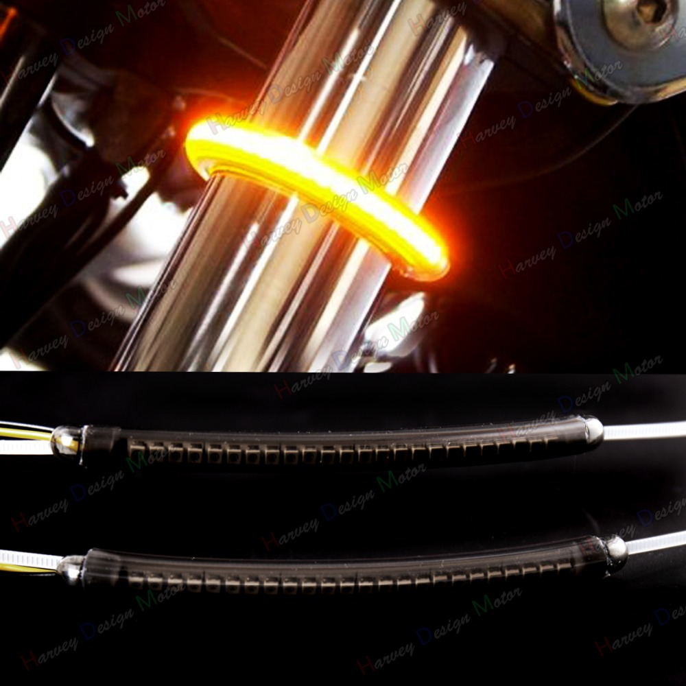 LED 39mm-41mm Fork Turn Signal Kit&Smoked Lens For Harley Victory Motorcycle